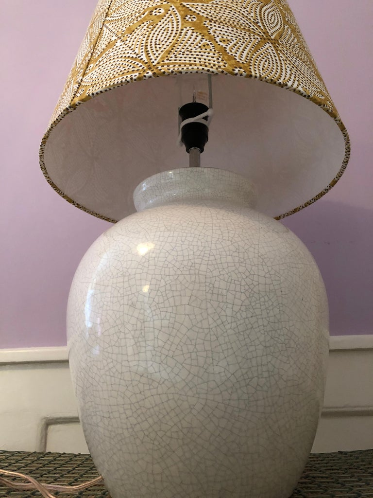Vintage Ceramic Table Lamp with Customized Shade, France, 1930s For Sale 3
