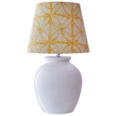 Vintage Ceramic Table Lamp with Customized Shade, France, 1930s