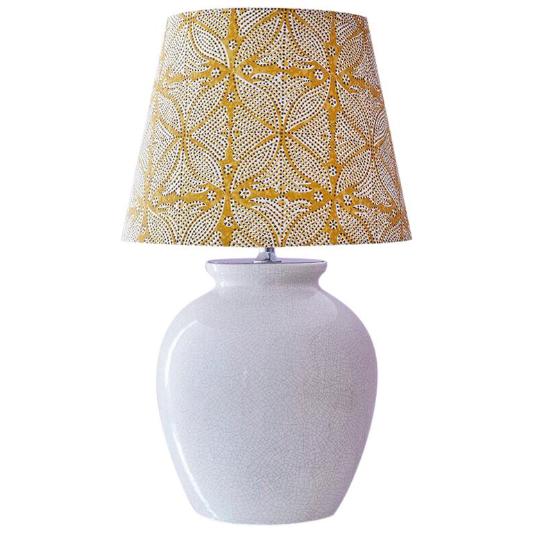 Vintage Ceramic Table Lamp with Customized Shade, France, 1930s For Sale