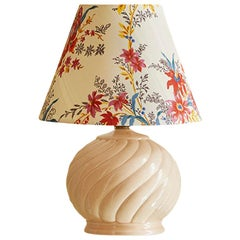 Vintage Ceramic Table Lamp with Customized Shade, France, 1960's