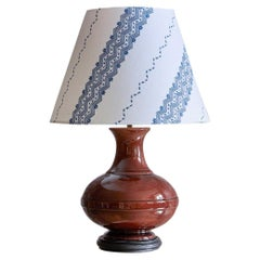 Vintage Ceramic Table Lamp With Customized Shade, France 1970s