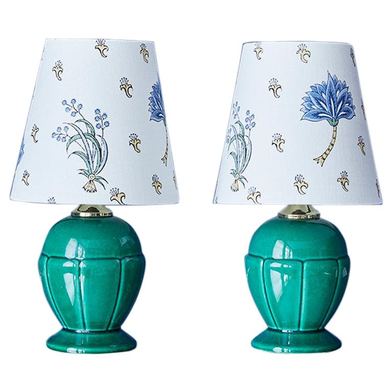Vintage Ceramic Table Lamps in Green with Customized Shade, France, 1950's