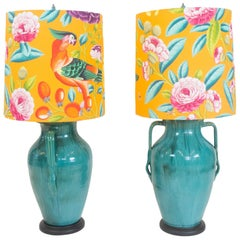 Vintage Ceramic Urn Lamps with Tropical Covered Lamp Shade