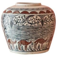 Vintage Ceramic Vase with Elegant Decorations, Iran, 19th Century