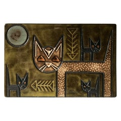 Vintage Ceramic Wall Plaque with Cats by Berg, Denmark, 1960s