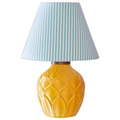 Vintage Cermique Table Lamp with Customised Shade, France, 1920