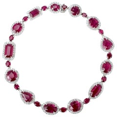 Vintage Cerrone 18 Karat White Gold Ruby and Diamond Bracelet