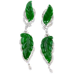 Vintage Certified Jadeite Jade and Diamond Drop Earrings, Intense Imperial Green