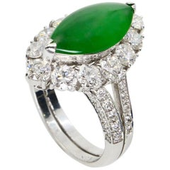 Vintage Certified Type A Jadeite Jade Diamond Cocktail Ring Imperial Green Color