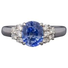 Vintage Ceylon Sapphire Diamond Ring Platinum 2.50 Carat Sapphire