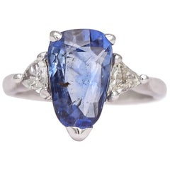 Vintage Ceylon Sapphire Diamond Trilogy Ring