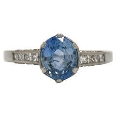 Vintage Ceylon Sapphire Engagement Ring Solitaire Blue Oval Gem Platinum Diamond