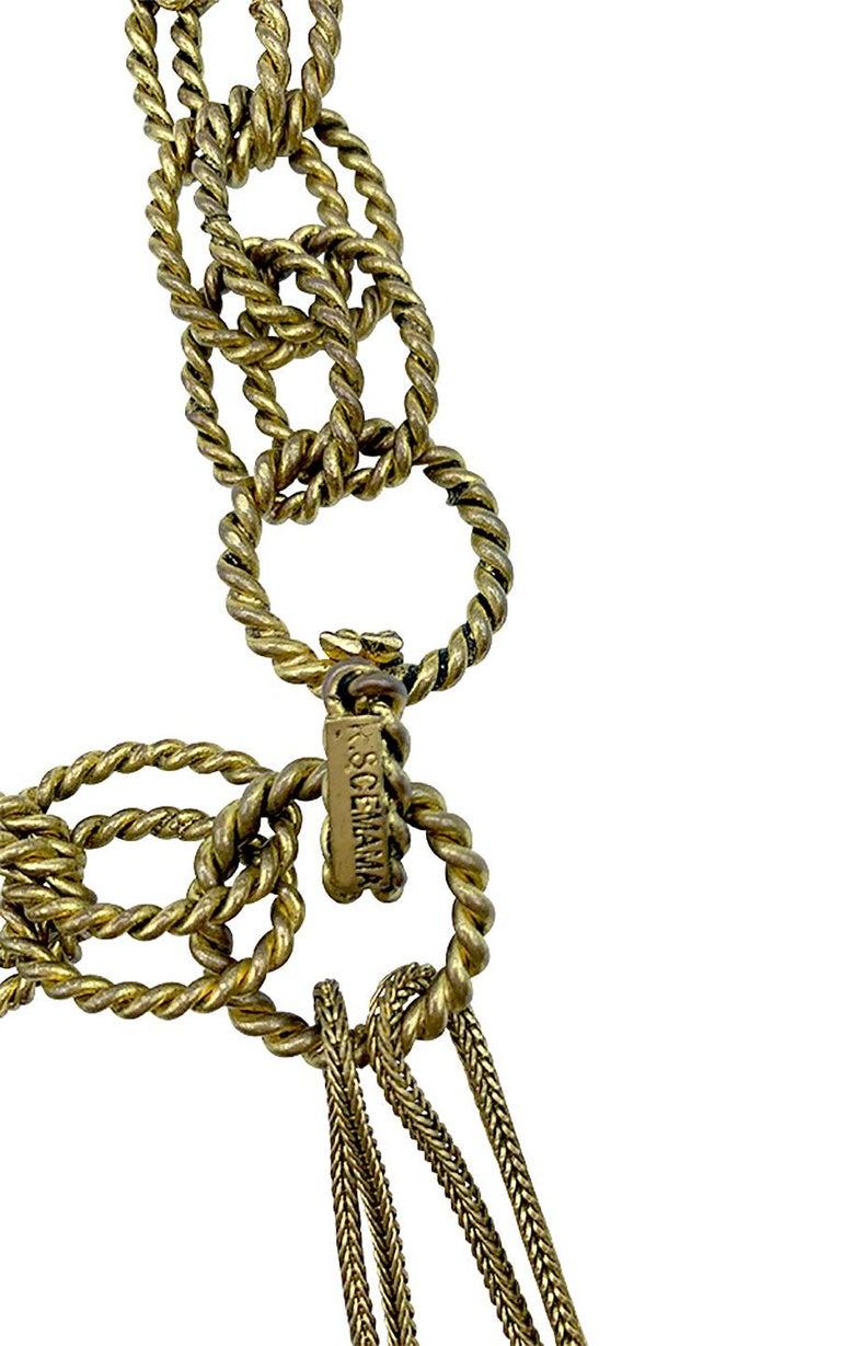 Beige Vintage Chain Belt Roger Scemama for Yves Saint Laurent 1968 For Sale