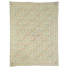 Vintage Chain Stitch Floral Area Rug with French Aubusson Chintz Style