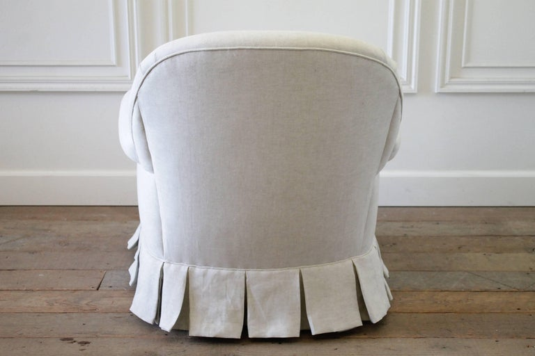 Vintage Chair With Custom Upholstered Linen Box Pleated