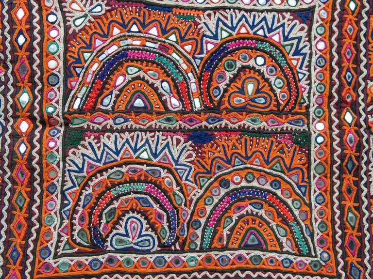 Vintage Chakla embroidered hanging, Rabari of Gujarat, India. Mid-20th century. This finely worked hand embroidered textile comes from the Vaghadia Rabari, an ethnic group of pastoralists living in eastern Gujarat in India. It was used as a small