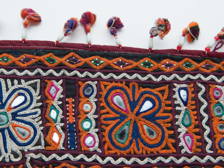 Tribal Vintage Chakla Embroidered Hanging, Rabari of Gujarat, India, Mid-20th Century For Sale