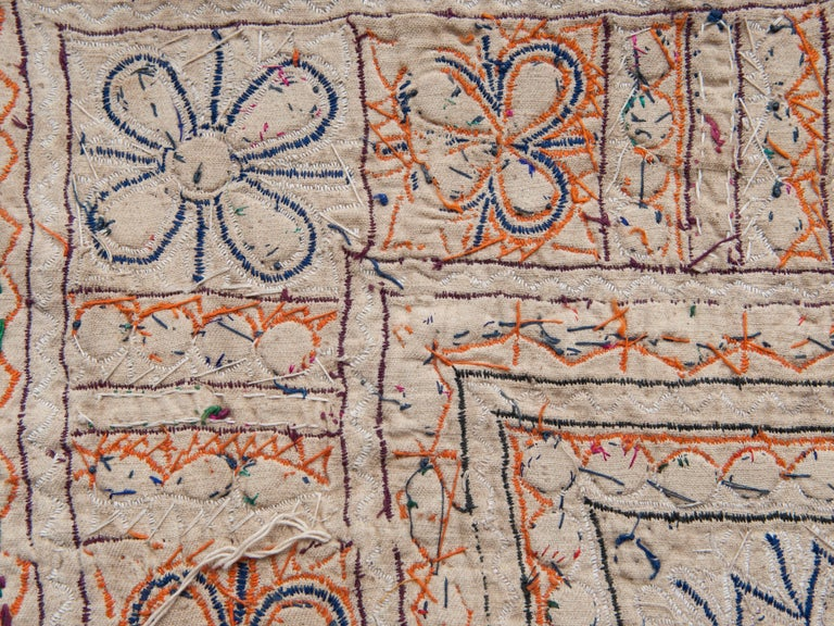 Vintage Chakla Embroidered Hanging, Rabari of Gujarat, India, Mid-20th Century For Sale 1