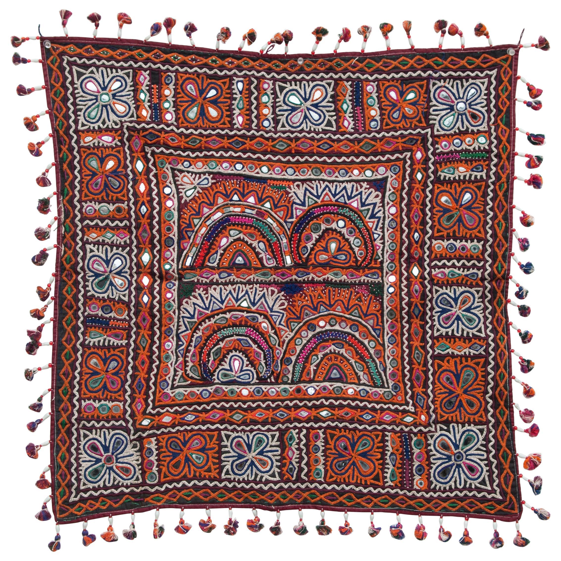 Vintage Chakla Embroidered Hanging, Rabari of Gujarat, India, Mid-20th Century
