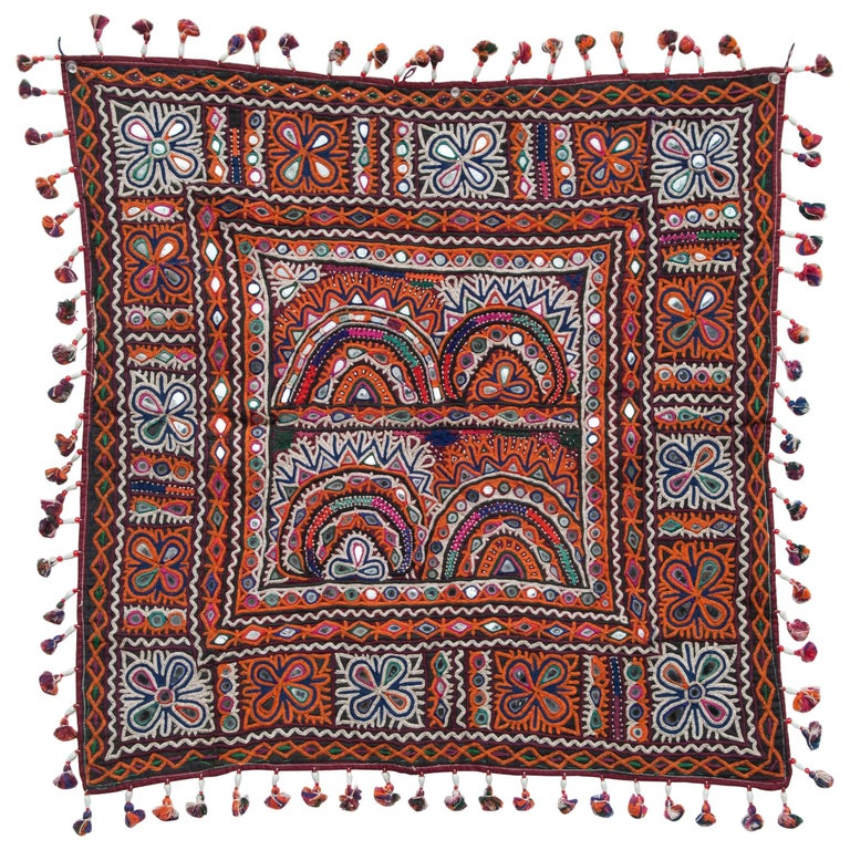 Vintage Chakla Embroidered Hanging, Rabari of Gujarat, India, Mid-20th Century For Sale