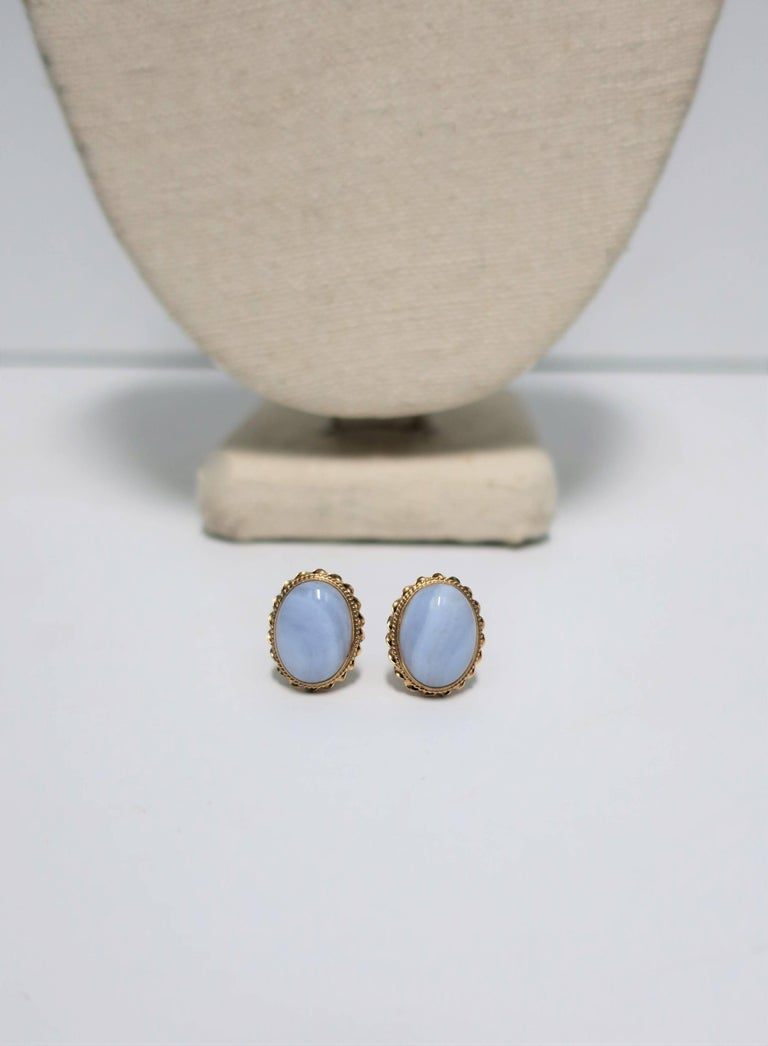 A Beautiful Pair Of Oval Chalcedony Stone And 14 Karat Yellow Gold Earrings Circa