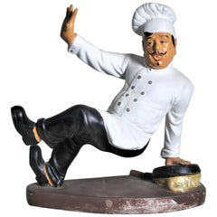 Vintage Whimsical Chalkware French or Italian Falling Chef Figurine or Sculpture