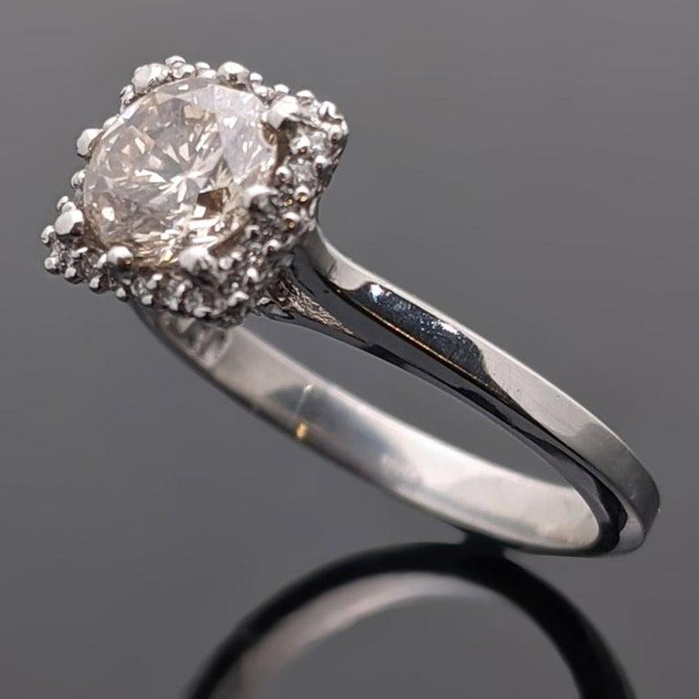 Retro Vintage Champagne Platinum Diamond Ring
