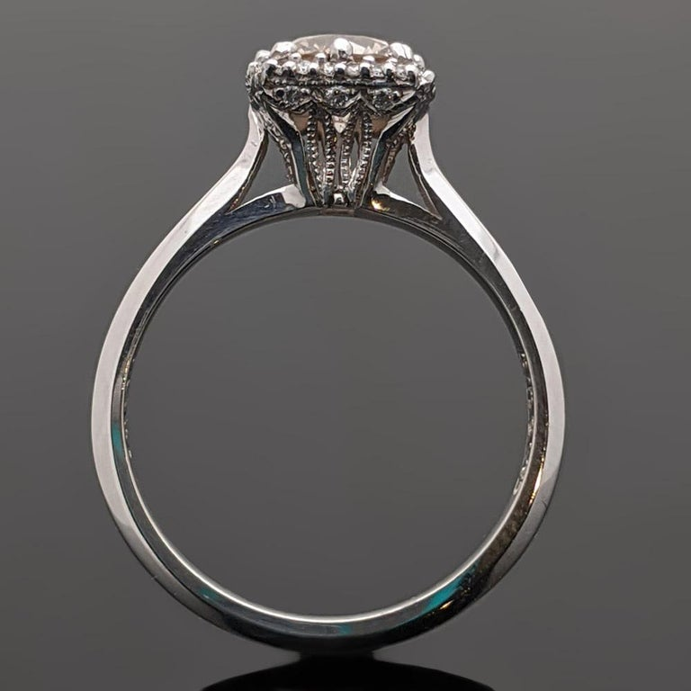 Vintage Champagne Platinum Diamond Ring In Excellent Condition In Los Angeles, CA