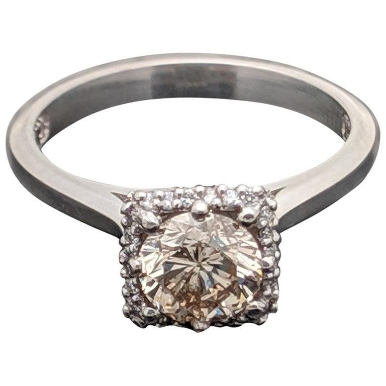 Vintage Champagne Platinum Diamond Ring