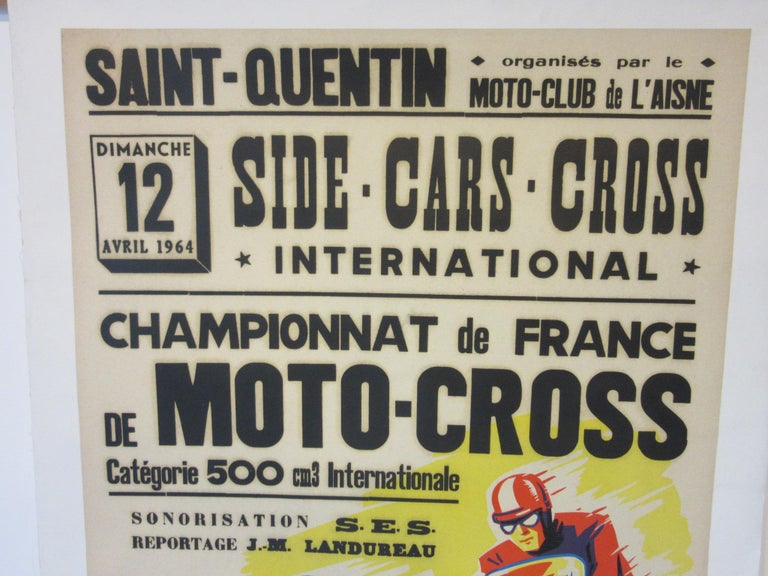 A brightly colored vintage Championnat de France Moto - Cross poster also advertising the sponsor BP Energol oil products dated April 12 1964. From a French international side car and moto cross championship race displaying both classes and other