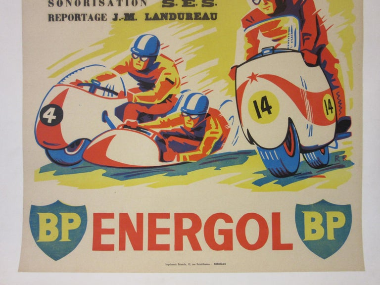 French Vintage Champion De France Moto Cross BP Energol Poster For Sale