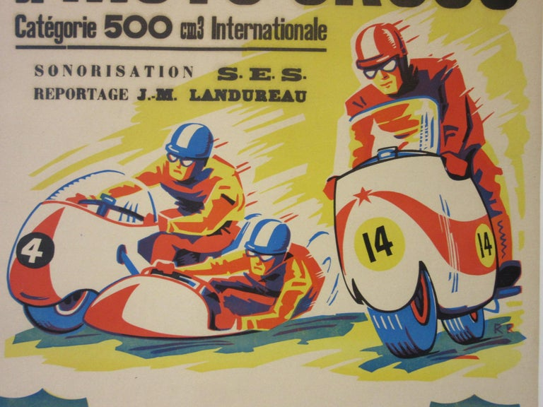 20th Century Vintage Champion De France Moto Cross BP Energol Poster For Sale