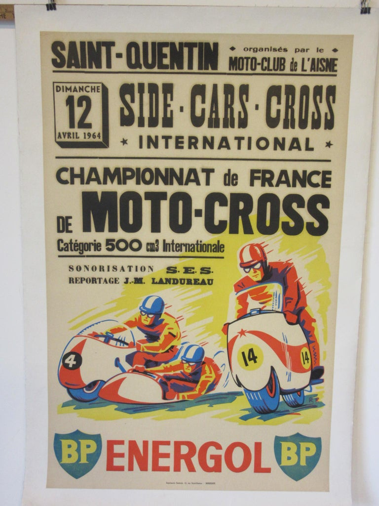 Vintage Champion De France Moto Cross BP Energol Poster For Sale 1