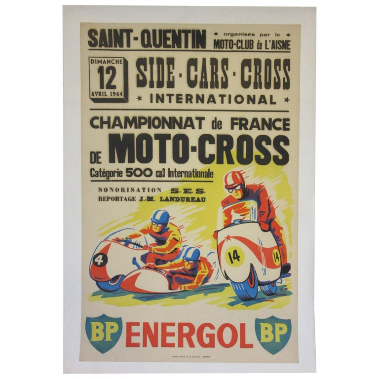 Vintage Champion De France Moto Cross BP Energol Poster For Sale