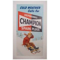Vintage Champion Spark Plug Poster, circa 1950