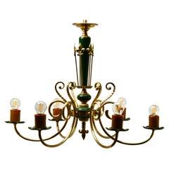 Vintage Chandelier Brass and Wood Decoratief Details Six Arms Belgium, 1950s