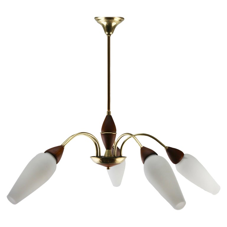 Vintage Chandelier Five Arms by Stilnovo, Italian, 1960s For Sale