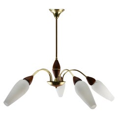 Vintage Chandelier Five Arms style of Stilnovo, Italian, 1960s