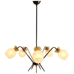 Vintage Chandelier Five Arms in the Style of Stilnovo, Italian, 1960s