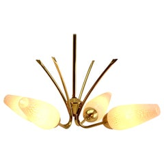 Vintage Chandelier Four Arms in the Style of Stilnovo, Italian, 1950s