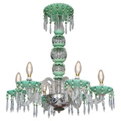 Vintage Chandelier in Pale Green and Clear Glass, Italy, 1940s