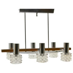 Vintage Chandelier Six Arms Chrome, Glass and Wood in the Style of Kalmar