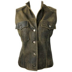 Vintage Chanel 00A Brown Leather Distressed Size 36 Sleeveless Vest Jacket Top