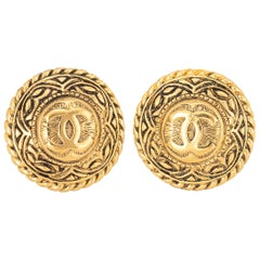 Vintage Chanel 1980s Large CC Logo Round Clip On Earrings Yellow Gold Tone