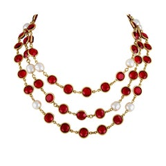 Vintage CHANEL 1981 Faux Pearl & Red Gripoix Long Necklace