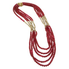 Vintage Chanel 1983 Class Beads Crystals Multi Strand Necklace
