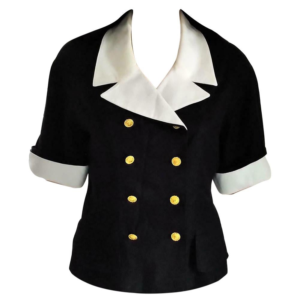 """Vintage Chanel 1983 K.L. """"1st Collection"""" Navy & White Fitted Jacket FR 38/ US 6"""