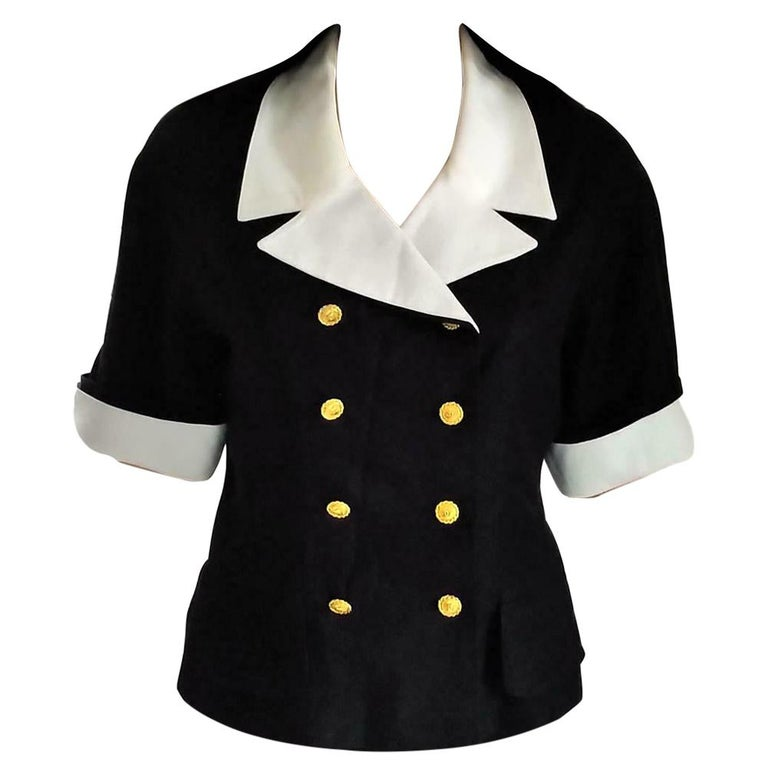 "Vintage Chanel 1983 K.L. ""1st Collection"" Navy & White Fitted Jacket FR 38/ US 6 For Sale"