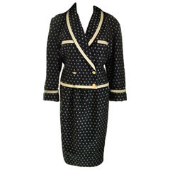 Vintage Chanel 1990's Navy & Ecru Diamond Jacket & Skirt Suit FR 40/ US 8