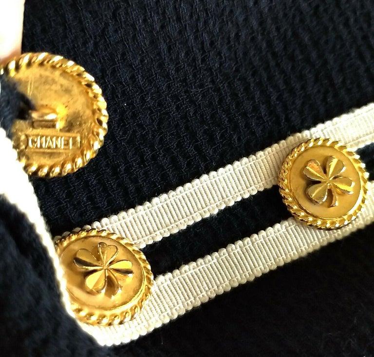 Vintage Chanel 1990's Navy & Ivory Grosgrain Jacket & Skirt Suit FR 34/ US 2 4 6